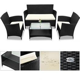 Deuba® Poly Rattan 4+1 Sitzgruppe Schwarz | 7cm dicke Sitzauflagen creme| 2 Sessel + 1 Bank | Tisch mit Glasplatte | Für Drinnen & Draußen [ Modellauswahl ] - Sitzgarnitur Lounge Sitzgruppe Gartenmöbel Gartenlounge Set - 1