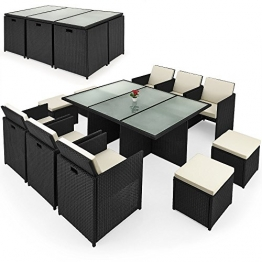 Deuba® Poly Rattan Sitzgruppe 10+1   Cube Design   7cm dicke Auflagen in creme   klappbare Rückenlehne   platzsparend - 27tlg. Sitzgarnitur Gartengarnitur Rattanmöbel Cube - 1