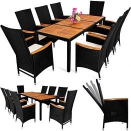 Deuba® Poly Rattan Sitzgruppe 8+1 Schwarz   7 cm dicke Sitzauflagen   Tisch + Armlehnen aus Akazienholz   neigbare Rückenlehnen   wetterbeständiges Polyrattan [ Modellauswahl 4+1 / 6+1 / 8+1 ] - Gartenmöbel Gartenset Sitzgarnitur - 1