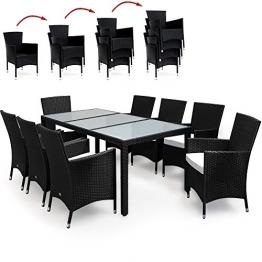 Deuba® Poly Rattan Sitzgruppe 8+1 Schwarz   8 stapelbare Stühle   7cm dicke Sitzauflagen Creme   wetterfestes Polyrattan [ Modell- & Farbauswahl 4+1 / 6+1 / 8+1] - Gartenmöbel Gartenset Lounge Sitzgarnitur Essgruppe Set - 1