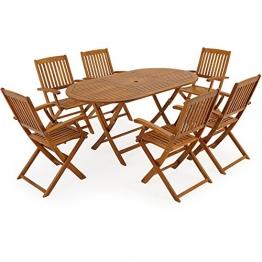 Deuba® Sitzgruppe Boston 6+1 | 6 klappbaren Stühlen | klappbarer Tisch - 1,6m x 0,85m Länge | Akazienholz [ Modellauswahl 4+1 / 6+1 / 8+1 ] - Sitzgarnitur Gartengarnitur Garten Möbel Set - 1
