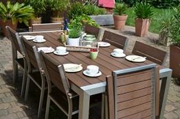 Gartenmöbel Miami Tisch 200x100 + 6 Stapelstühle und 2 Hochlehner 8 Personen Holzdekor dunkel, Polywood und Aluminium Edelstahl beschichtet - 1
