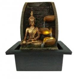 Golden Buddha mit Wasser Tassen und LED Lampe indoor Brunnen 21?cm x 18?cm x 25?cm - 1