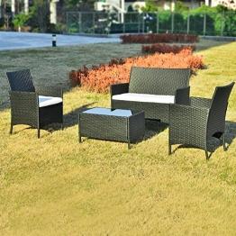 Merax Polyrattan Loungeset Gartenset Gartenmöbel Sitzgruppe Gartentisch 4-teiliges Lounge Set Balkon in Rattanoptik (Schwarz) - 1