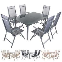 Miweba Moreno 6+1 Aluminium Sitzgarnitur 150x100 Alu Gartenmöbel 6 Stühle Sitzgruppe Tisch Gartenset Gartengarnitur in verschiedenen Farben und Ausführungen (Farbe: Grau - Ausführung: Classic) - 1