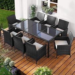 Polyrattan Gartenmöbelset Elegance 9tlg Schwarz Poly Rattan Sitzgarnitur Gartenmöbel Garten-Garnitur Gartenset Sitzgruppe Lounge Essgruppe Tisch Sessel Stühle - 1