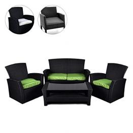 Rattan Set 4tlg mit Glastisch grün Garnitur Gartenmöbel Sitzgruppe Poly Rattan inkl. Höhenverstellbare Füße und Sicherheitsglas 4-Sitzer 4-teilig - 1