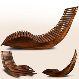 Schwungliege | FSC®-zertifiziertes Akazienholz | Ergonomisch | Vormontierte Latten | Wippfunktion | Gartenliege Sonnenliege Relaxliege Saunaliege - 1