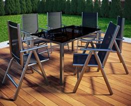 VCM Alu Sitzgruppe 150x90 Gartenmöbel Gartengarnitur Tisch Stuhl Essgruppe Gartenset 4 Stühle + 1 Tisch - 1