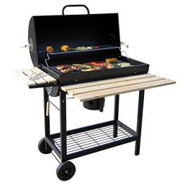 BBQ-TORO Holzkohle Grillwagen | Premium Holzkohlegrillwagen, Smoker, Barbecue Grill mit Deckel, Warmhalterrost, abklappbarer Ablage und vielem mehr - 1