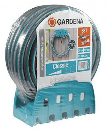 gardena wandschlauchhalter mit schlauch set mit 20 m schlauch spritze und halterung. Black Bedroom Furniture Sets. Home Design Ideas