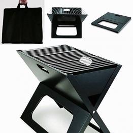 Grill klein mitnehmen Klappgrill Camping-grill Angebot Faltgrill mit Tasche Sommer BBQ mitnehmen Tragetasche schwarz - 1