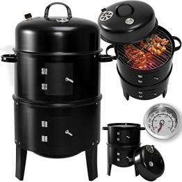KESSER® 3in1 BBQ Holzkohlegrill Barbecue Smoker Räuchertonne Räuchergrill mit Thermostat -diverse Modelle- (3 in 1 Räuchertonne) Rundgrill - 1