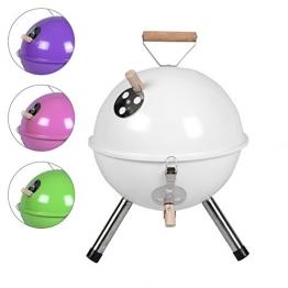 Nexos YG00263 Mini Grill Kugelgrill Holzkohlegrill für Garten Terrasse Camping Festival Picknick BBQ Barbecue  Ø 30 cm weiß - 1