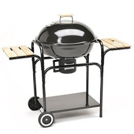 XXL Kugelgrill 57cm Durchmesser Holzkohle-Grill Smoker Standgrill mit Deckel und Holz-Ablagen - große Grillfläche in schwarz - 1