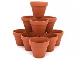 10er-Set Tontöpfe - Blumentöpfe Übertöpfe Pflanztopf - Ideal zur Anzucht - Naturprodukt - wiederwendbar - verschiedene Größen (Ø 10 cm x Höhe 10 cm) - 1