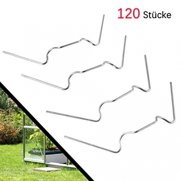 120 Stück ✔ Gewächshaus Klammern,Y&J ✔ Extra Thick(1.6mm) ✔ Anti-Rost ROSTFREIER Edelstahl Gewächshausklammern für Gewächshaus & Glashaus Hohlkammerstegplatten (120 Stück Super-Wert-Paket) - 1