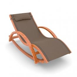 Ampel 24 Relax Schaukelstuhl Rio, Relaxliege mit Armlehnen, Gartenmöbel aus vorbehandeltem Holz, Stuhl Bespannung braun, wetterfeste Gartenliege - 1