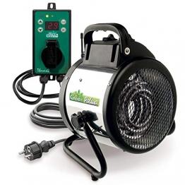 Bio Green Elektrogebläseheizung Palma digital, silber/schwarz, 2000 Watt (inkl. Digital-Thermostat) IP X4 Spritzwassergschützt für Gewächshäuser - 1