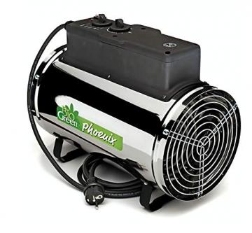 Bio Green Elektrogebläseheizung Phoenix, silber/schwarz - IP X4 Spritzwassergeschützt für Gewächshäuser - 1