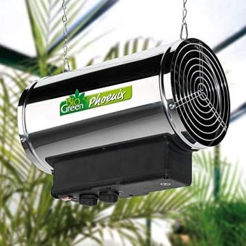Bio Green Elektrogebläseheizung Phoenix, silber/schwarz - IP X4 Spritzwassergeschützt für Gewächshäuser - 6