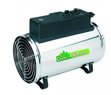 Bio Green Elektrogebläseheizung Phoenix, silber/schwarz - IP X4 Spritzwassergeschützt für Gewächshäuser - 9