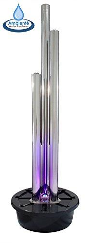 Brunnen und Mehr 1,85m/165cm Moderner Säulenbrunnen aus poliertem Edelstahl mit LED-Beleuchtung - 3