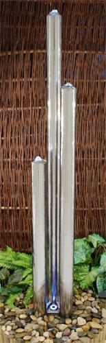 Brunnen und Mehr 1,85m/165cm Moderner Säulenbrunnen aus poliertem Edelstahl mit LED-Beleuchtung - 4