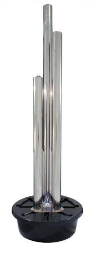Brunnen und Mehr 1,85m/165cm Moderner Säulenbrunnen aus poliertem Edelstahl mit LED-Beleuchtung - 1
