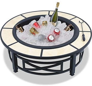 Centurion Supports Nusku runde Feuerschale, luxuriös, multifunktional, schwarz mit Keramikfliesen in 360°, für Garten und Terrasse - 3