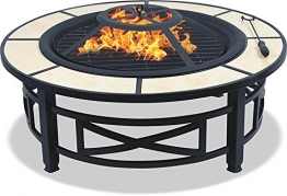 Centurion Supports Nusku runde Feuerschale, luxuriös, multifunktional, schwarz mit Keramikfliesen in 360°, für Garten und Terrasse - 1