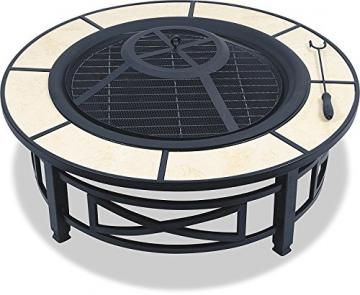 Centurion Supports Nusku runde Feuerschale, luxuriös, multifunktional, schwarz mit Keramikfliesen in 360°, für Garten und Terrasse - 4