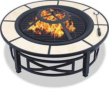 Centurion Supports Nusku runde Feuerschale, luxuriös, multifunktional, schwarz mit Keramikfliesen in 360°, für Garten und Terrasse - 5