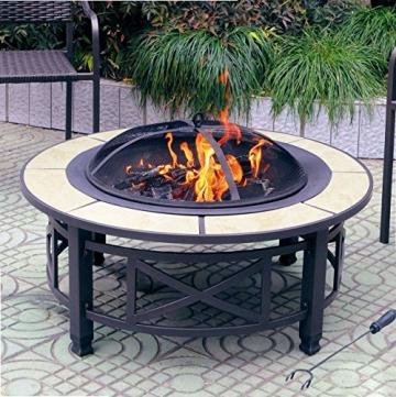 Centurion Supports Nusku runde Feuerschale, luxuriös, multifunktional, schwarz mit Keramikfliesen in 360°, für Garten und Terrasse - 6