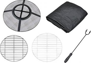 Centurion Supports Nusku runde Feuerschale, luxuriös, multifunktional, schwarz mit Keramikfliesen in 360°, für Garten und Terrasse - 8