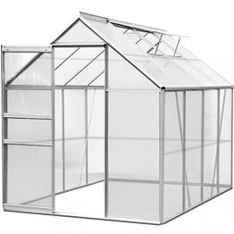 Deuba Aluminium Gewächshaus 7,6 m³ M3 Treibhaus Gartenhaus Frühbeet Pflanzenhaus Aufzucht 250 x 190 x 195cm - 1