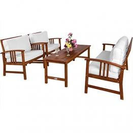 Deuba Lounge Sitzgruppe Atlas | Akazien Holz Auflagen Sessel Bank Tisch | Gartenmöbel Sitzgarnitur Garten Set Creme - 1