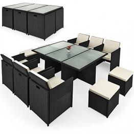 Deuba® Poly Rattan Sitzgruppe 10+1 | Cube Design | 7cm dicke Auflagen in creme | klappbare Rückenlehne | platzsparend [ Modellauswahl 2+1 | 4+1 | 8+1 | 10+1 ] - Sitzgarnitur Gartengarnitur Rattanmöbel Gartenmöbel Set - 1