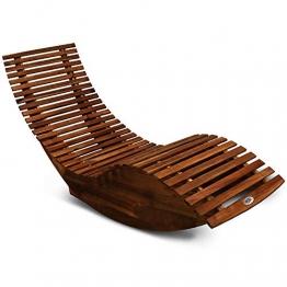 Deuba Schwungliege | FSC®-zertifiziertes Akazienholz | Ergonomisch | Vormontierte Latten | Wippfunktion | Gartenliege Sonnenliege Relaxliege Saunaliege - 1