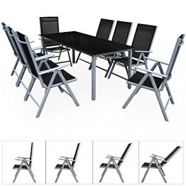 Deuba Sitzgruppe Bern 8+1 | Aluminium | 7-Fach verstellbare Hochlehner | Tisch mit Sicherheitsglas | Silber - Garten Set - 1
