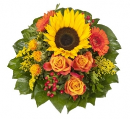 """Dominik Blumen und Pflanzen, Blumenstrauß """"Sonnenlicht"""" mit einer Sonnenblume, orangen Rosen, Germini, Färberdistel und Goldrute - 1"""