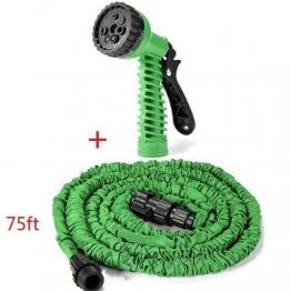elecfan Flexibler Gartenschlauch, Garten Haushalt Wasser Spray Düse Kit mit 75 FT erweiterbar für Bewässerung, Wand-Boden Spülung, Hunde & Haustiere Duschen (Grün) - 1