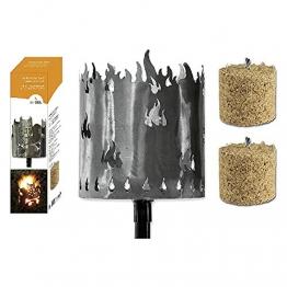 Fackel Gartenfackel Flammen 140 cm Feuerschale Metall + Stiel + 2 x Brennmittel 64090 F77 - 1
