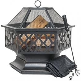 Feuerschale für den Außenbereich, sechseckiger Feuerkorb für Garten oder Terrasse, Feuerstelle mit Funkenschutz, Schürhaken und Schutzabdeckung, Schwarz und Bronze, 61 cm L x 65 cm H - 1