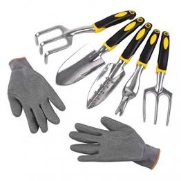 FIXKIT 6PCS Gartenwerkzeugset mit Handschuhe aus Polyester und Aluminium, geeignet für Gartenarbeit - 1