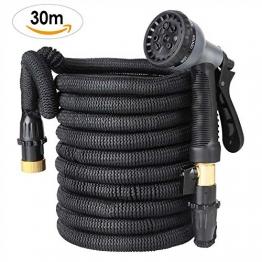 FIXKIT Flexischlauch Gartenschlauch Wasserschlauch Erweiterbar Bewässerung Stretch Schlauch mit 8 Funktion flexible dehnbar für Gartenbewässerung und Reinigung Schwarz (30m) - 1