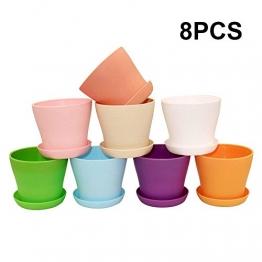 G2PLUS 8 Stück Plastik Blumentopf, 10CM Pflanztöpfe in 8 Farben Perfekt für Home Büro Dekoration - 1