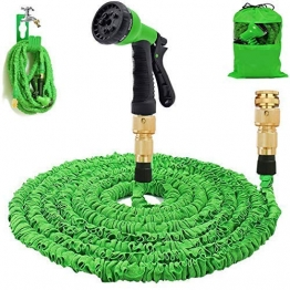 Gartenschlauch 50Ft erweiterbar Wasserschlauch Rohr - 3-mal erweitern flexiblen Schlauch 8-Pattern-Spritzpistole Anti-Leckage Schlauch Messing Schlaucharmaturen - 1