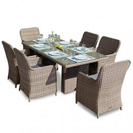Green Spirit Hochwertige Tischgruppe 13-TLG. in Braun Polyrattan Garten Möbel Poly Rattan Speisegruppe Tischgruppe Hellbraun Gartenmöbel XL-Stühle Sicherheitsglas - 1