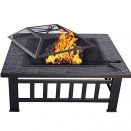 HENGMEI 81x81x45cm Multifunktional Feuerschale Feuerstelle Fire Pit Grillstelle Feuerkorb mit Grillrost Funkenschutz für BBQ, Heizung,Garten (Modell A, 81cm) - 1